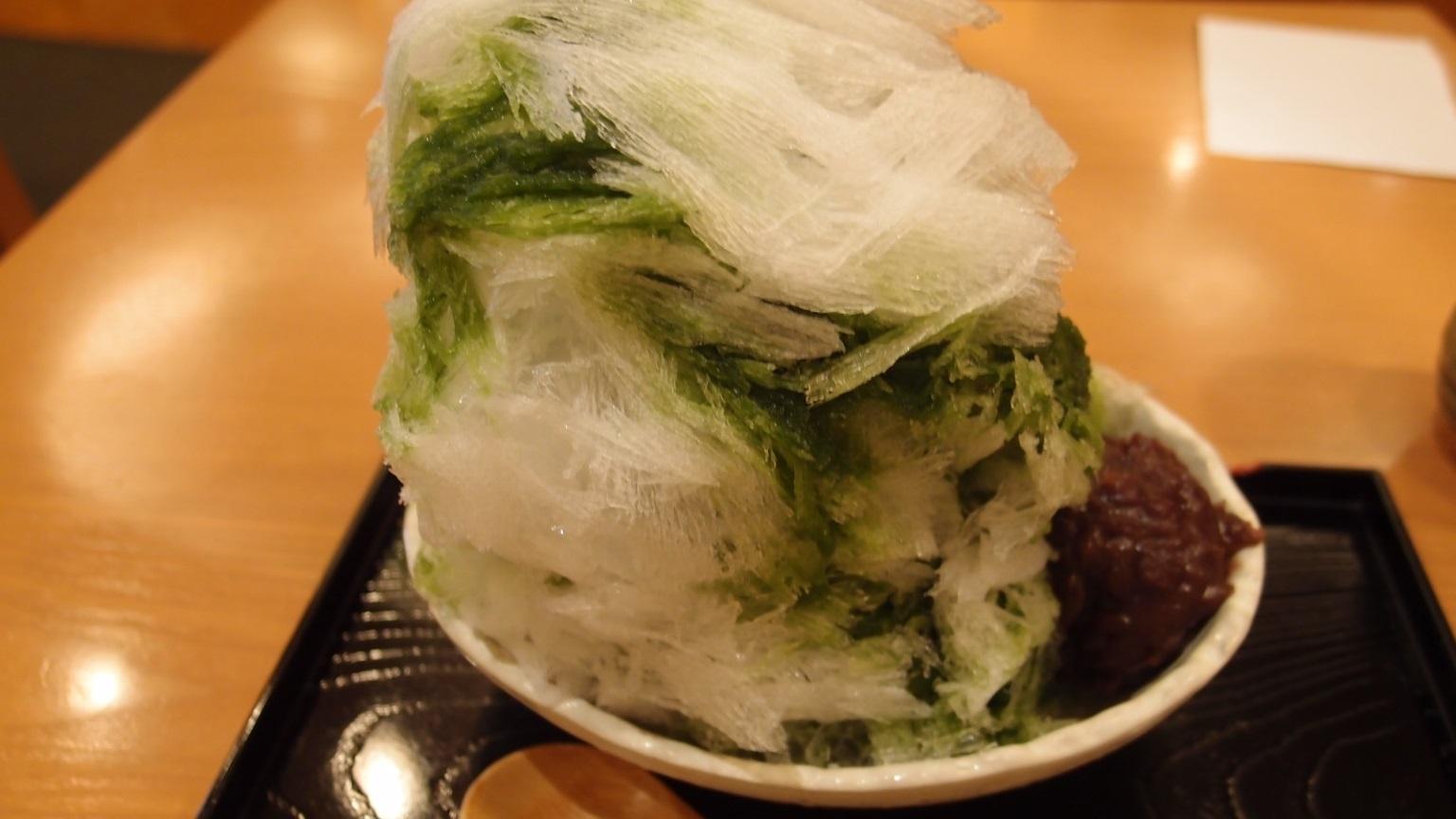 銀座 松崎煎餅お茶席 抹茶あずきかき氷 | 冷ぜんざい