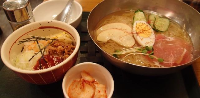 銀座 韓式食堂市場 冷麺とビビンバセット