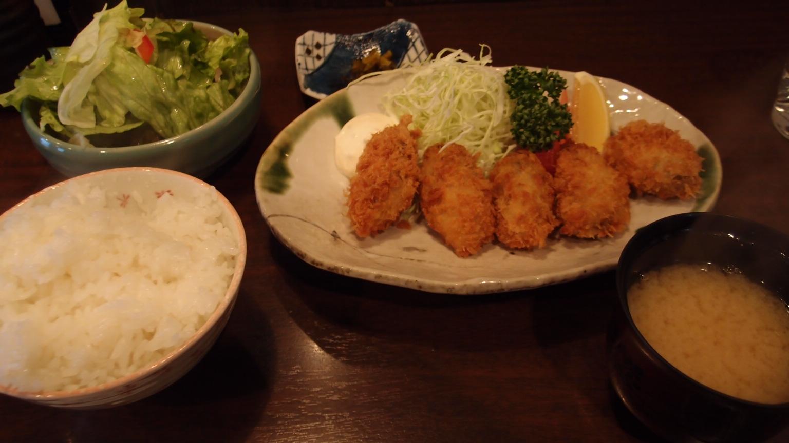 銀座 かきしゃぶ屋 牡蠣フライ定食